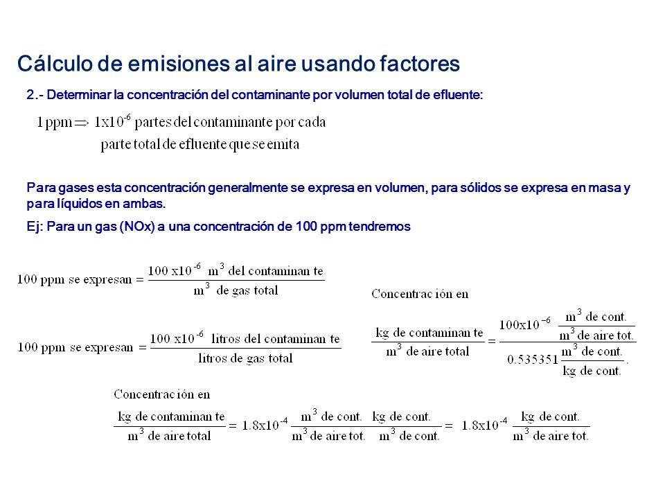 Cálculo de emisiones al aire usando factores