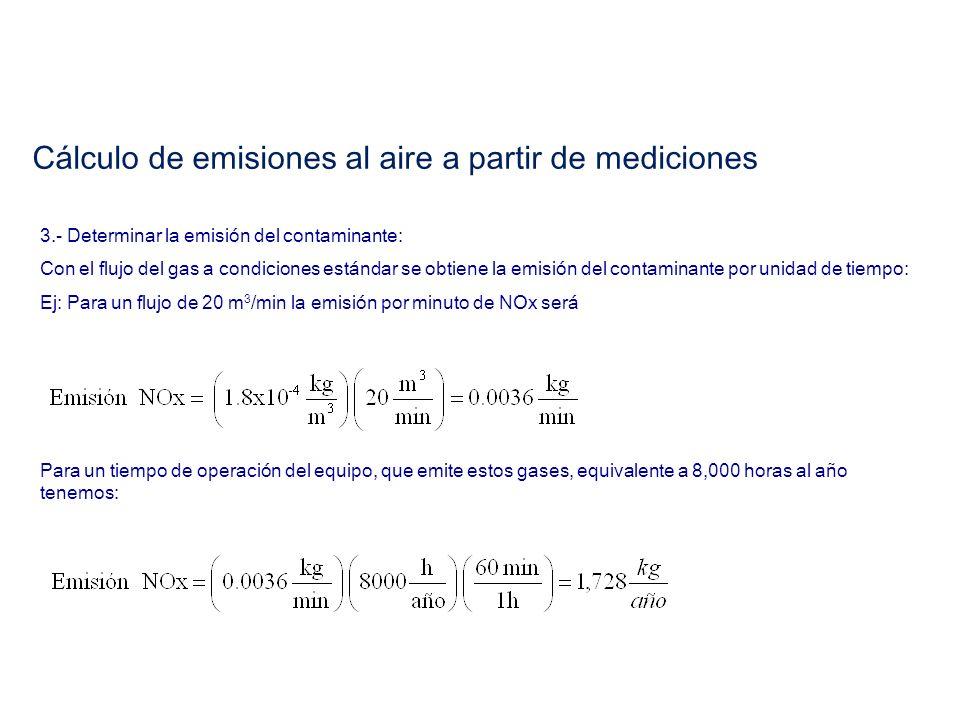 Cálculo de emisiones al aire a partir de mediciones