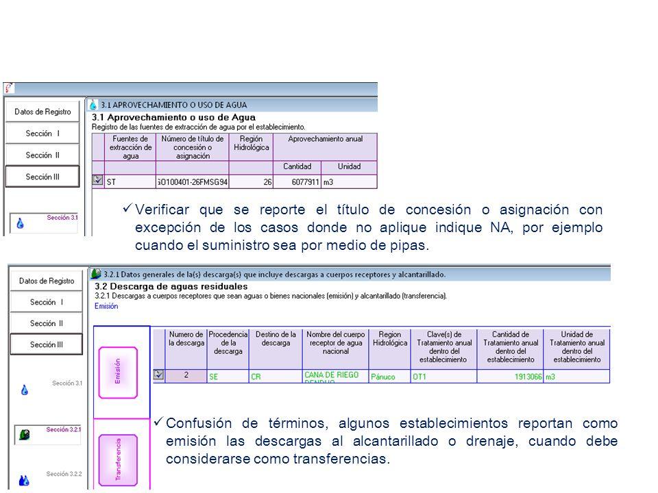 Verificar que se reporte el título de concesión o asignación con excepción de los casos donde no aplique indique NA, por ejemplo cuando el suministro sea por medio de pipas.