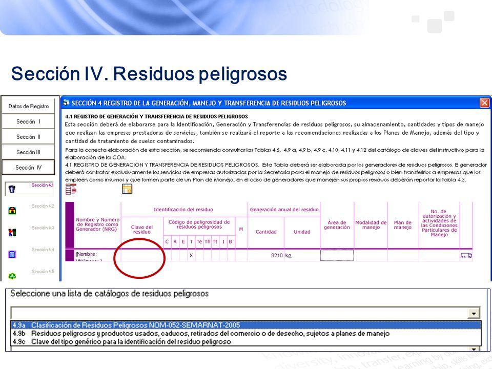 Sección IV. Residuos peligrosos
