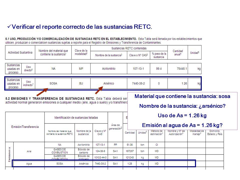 Verificar el reporte correcto de las sustancias RETC.