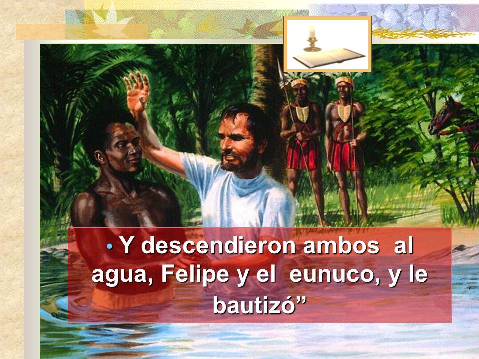 Y descendieron ambos al agua, Felipe y el eunuco, y le bautizó
