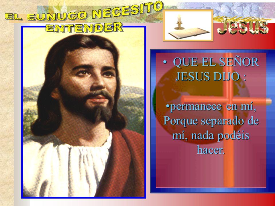 EL EUNUCO NECESITO ENTENDER QUE EL SEÑOR JESUS DIJO :