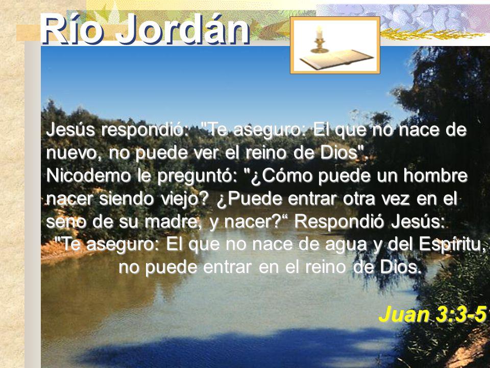 Río JordánJesús respondió: Te aseguro: El que no nace de nuevo, no puede ver el reino de Dios .