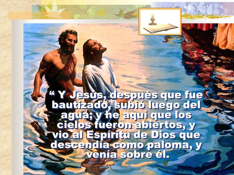 Y Jesús, después que fue bautizado, subió luego del