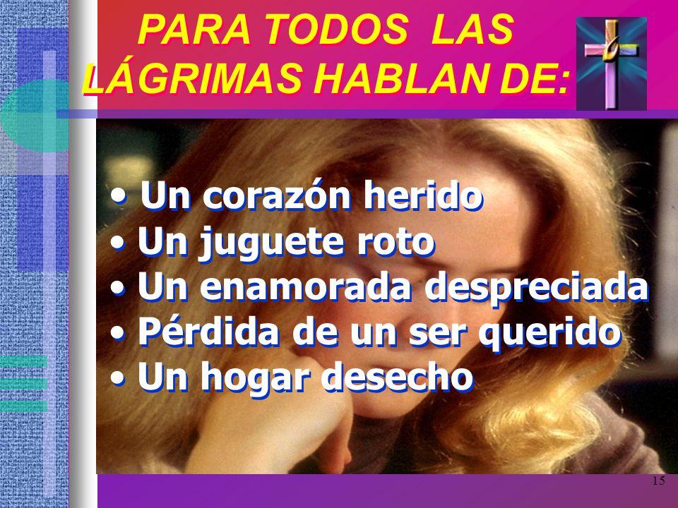 PARA TODOS LAS LÁGRIMAS HABLAN DE: