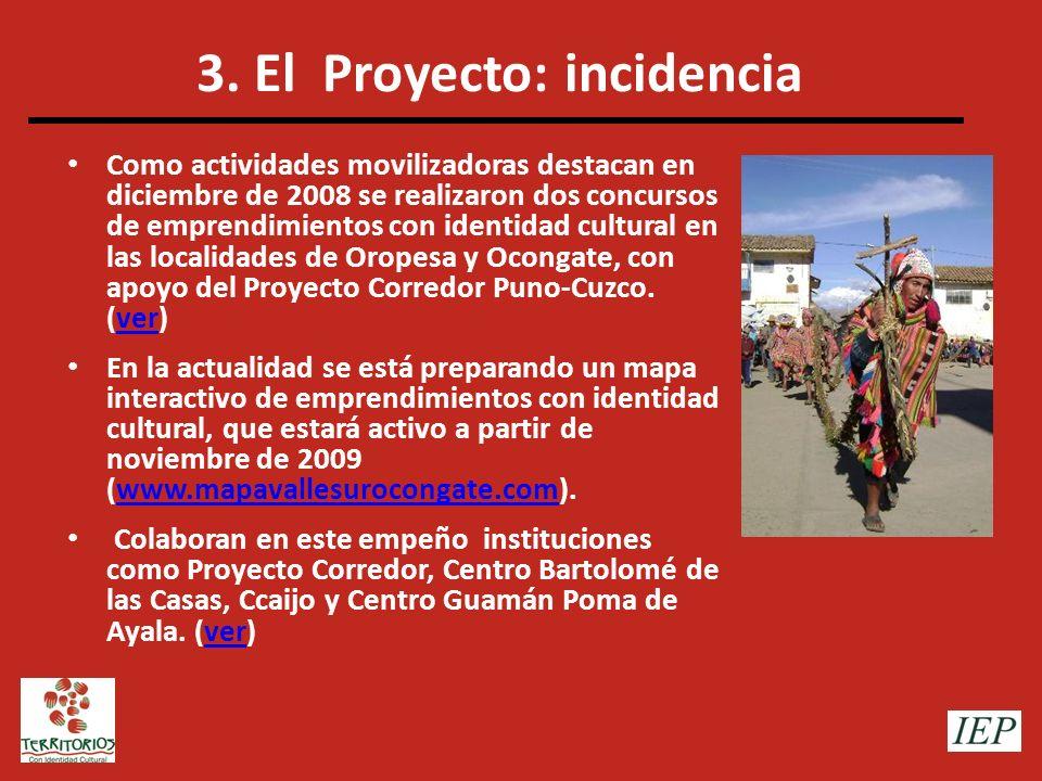 3. El Proyecto: incidencia