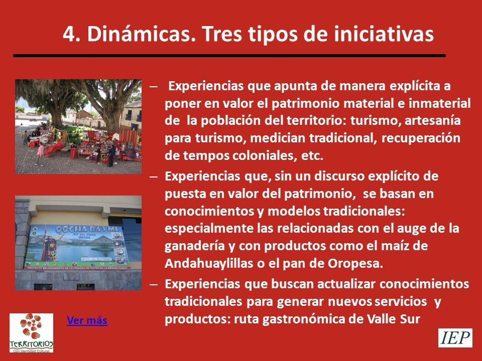 4. Dinámicas. Tres tipos de iniciativas