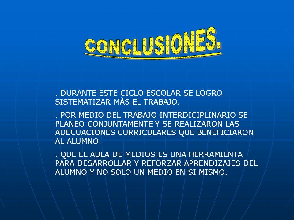 CONCLUSIONES. . DURANTE ESTE CICLO ESCOLAR SE LOGRO SISTEMATIZAR MÀS EL TRABAJO.