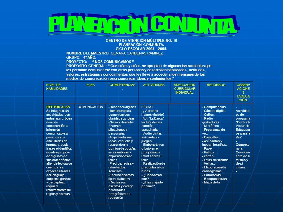 PLANEACIÒN CONJUNTA. CENTRO DE ATENCIÒN MÙLTIPLE NO. 10