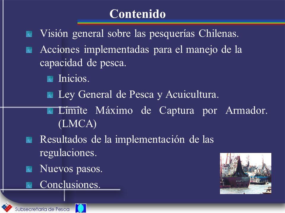 Contenido Visión general sobre las pesquerías Chilenas.