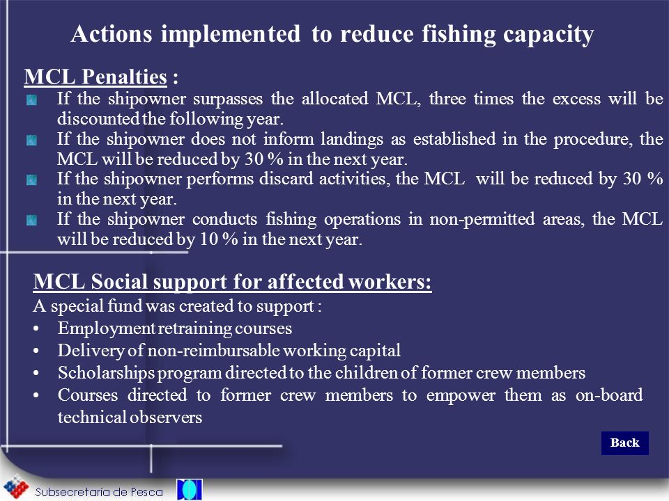 Actions implemented to reduce fishing capacity