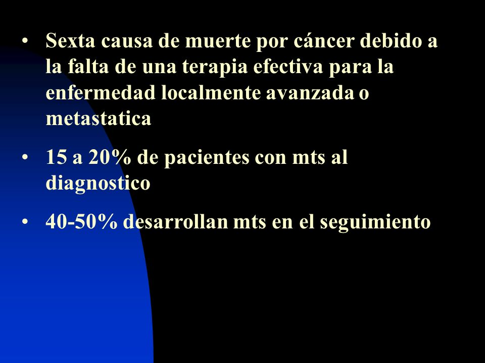 Sexta causa de muerte por cáncer debido a la falta de una terapia efectiva para la enfermedad localmente avanzada o metastatica
