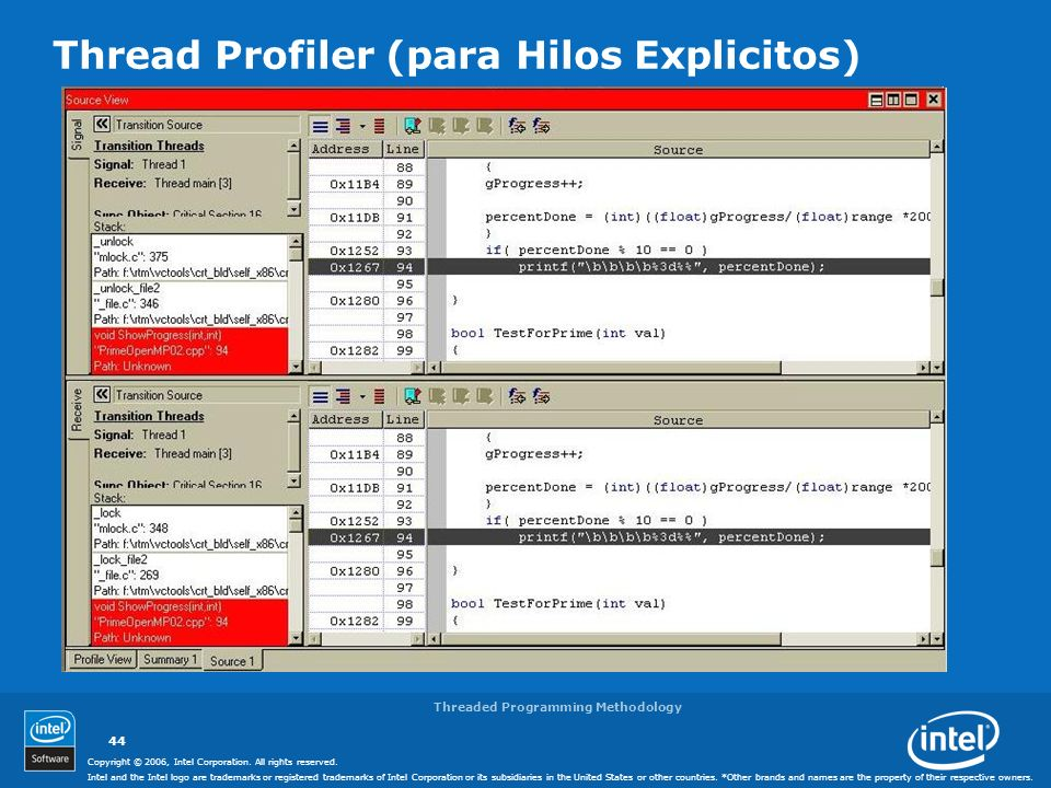 Thread Profiler (para Hilos Explicitos)