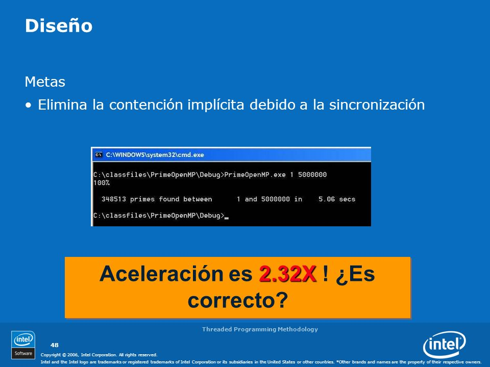 Aceleración es 2.32X ! ¿Es correcto Threaded Programming Methodology