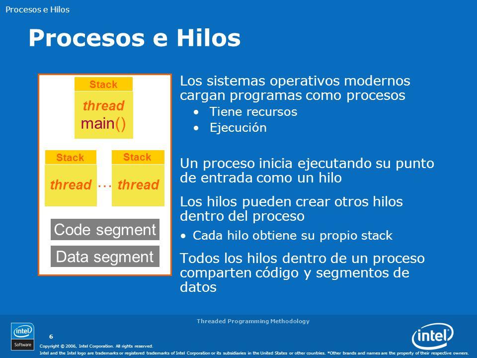 Procesos e Hilos main() … Code segment Data segment
