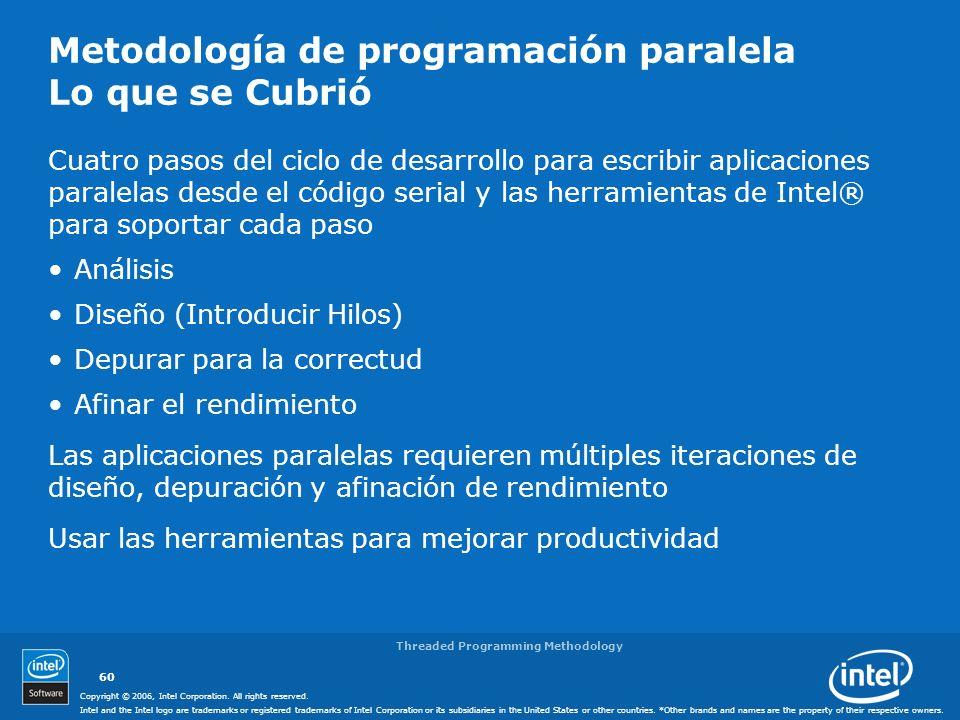 Metodología de programación paralela Lo que se Cubrió