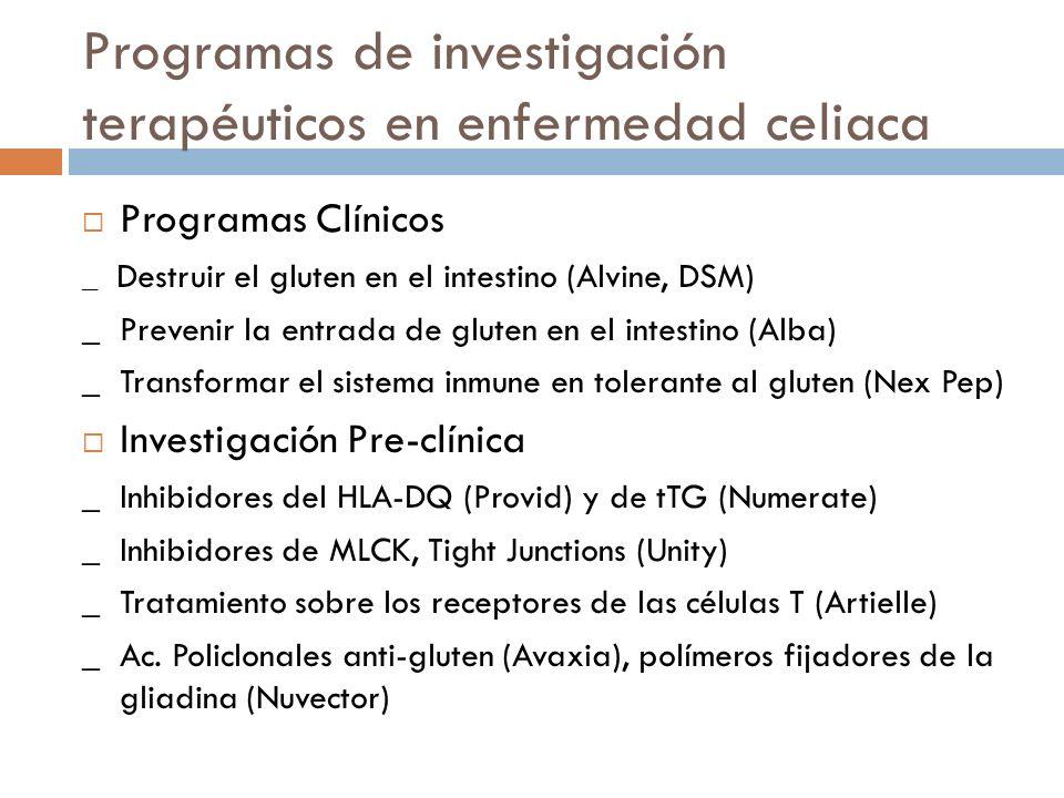 Programas de investigación terapéuticos en enfermedad celiaca