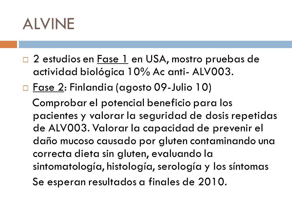 ALVINE 2 estudios en Fase 1 en USA, mostro pruebas de actividad biológica 10% Ac anti- ALV003. Fase 2: Finlandia (agosto 09-Julio 10)