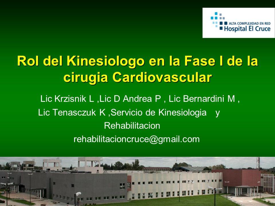 Rol del Kinesiologo en la Fase I de la cirugia Cardiovascular