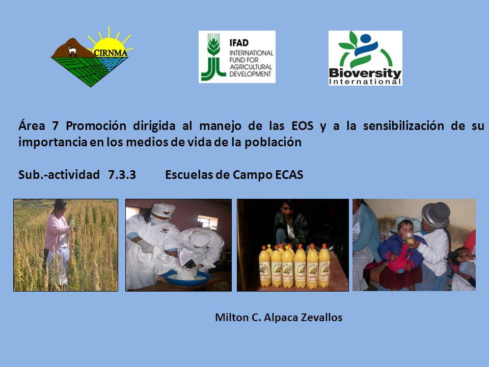 Sub.-actividad 7.3.3 Escuelas de Campo ECAS