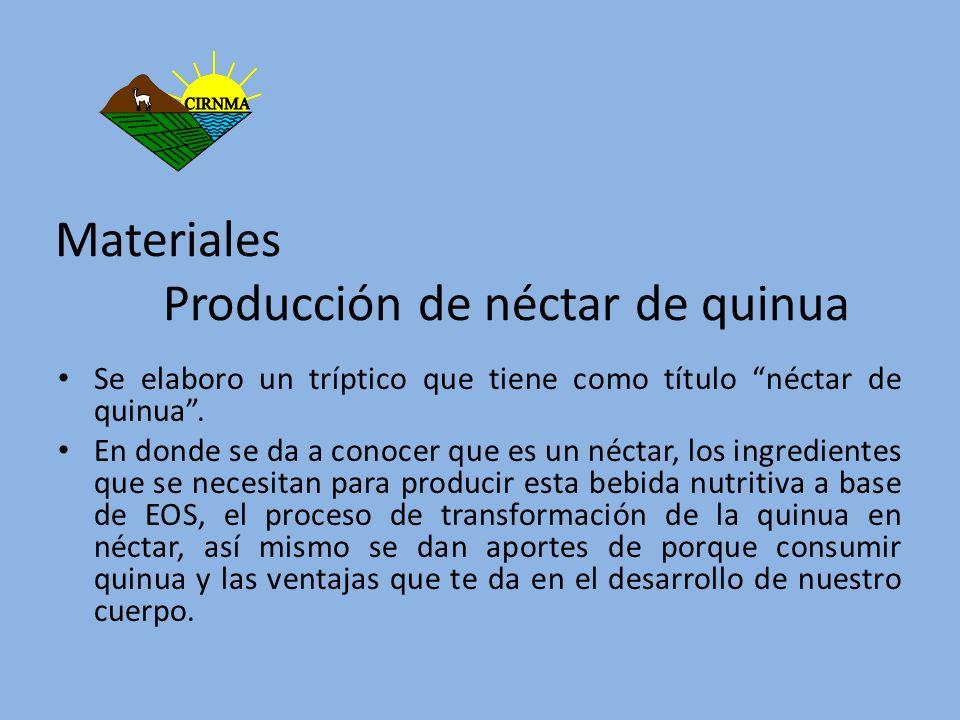 Materiales Producción de néctar de quinua