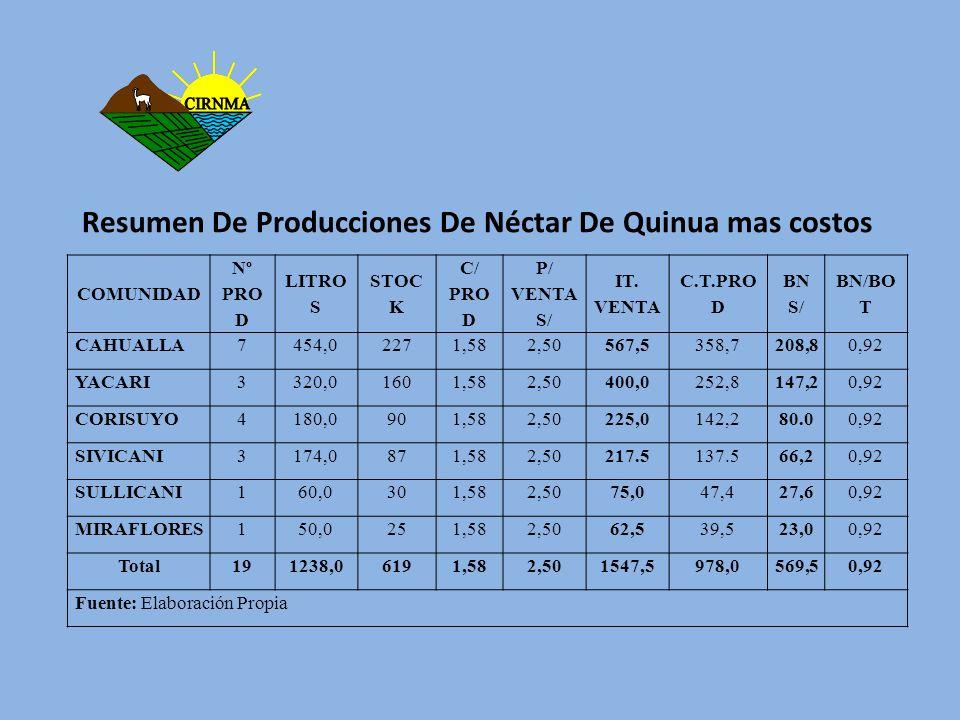 Resumen De Producciones De Néctar De Quinua mas costos