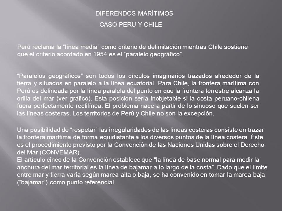 DIFERENDOS MARÍTIMOS CASO PERU Y CHILE.