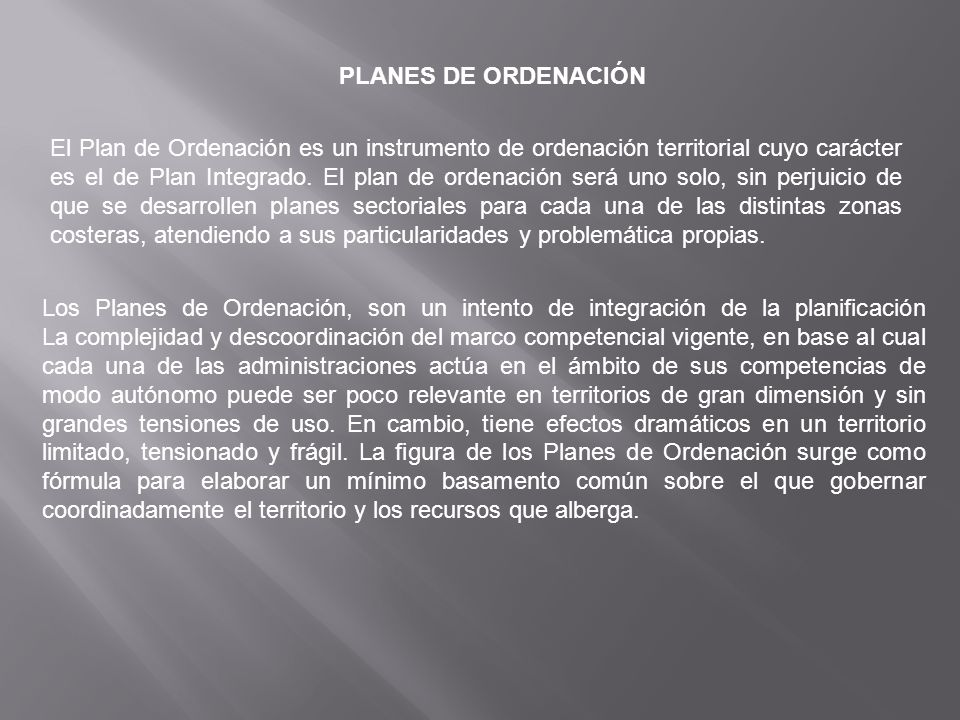 PLANES DE ORDENACIÓN