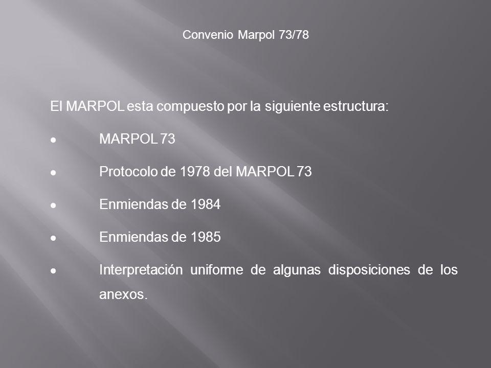 El MARPOL esta compuesto por la siguiente estructura: · MARPOL 73