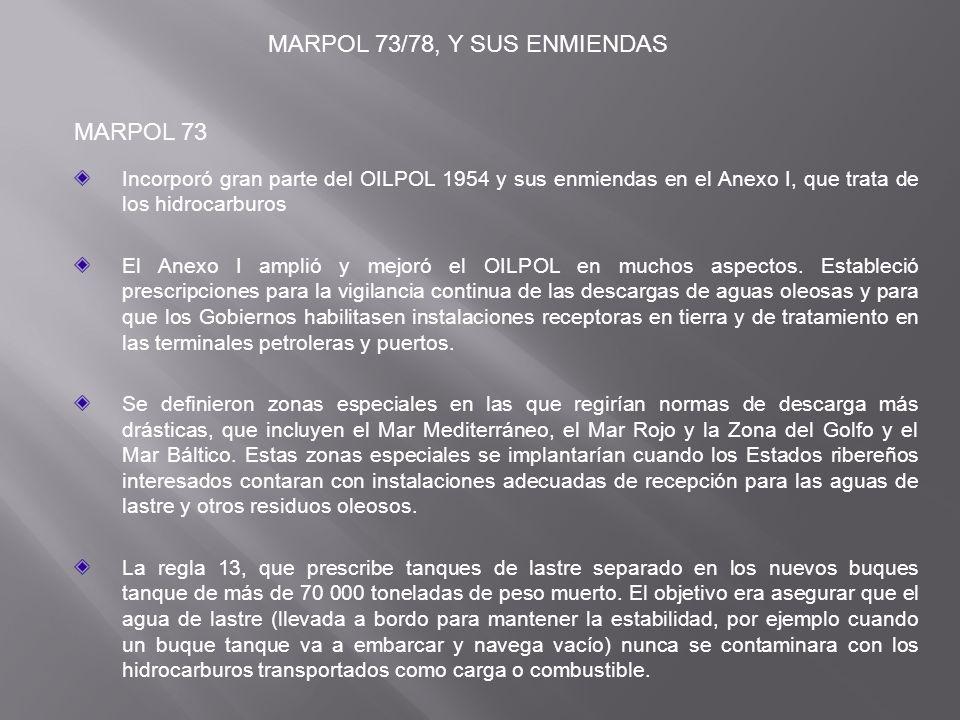 MARPOL 73/78, Y SUS ENMIENDAS