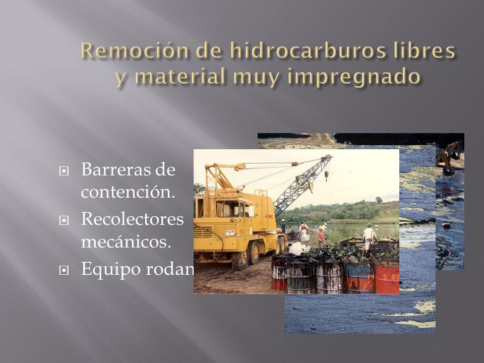 Remoción de hidrocarburos libres y material muy impregnado