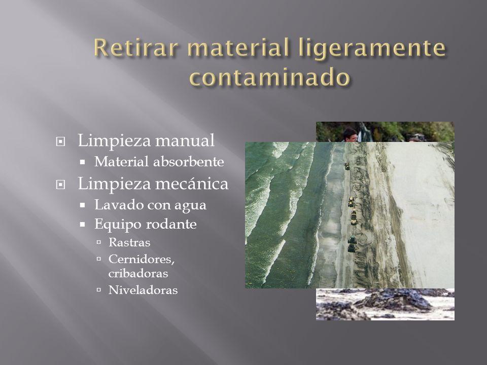 Retirar material ligeramente contaminado