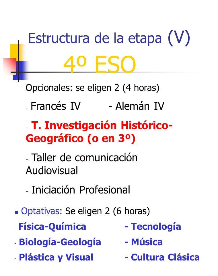 Estructura de la etapa (V)