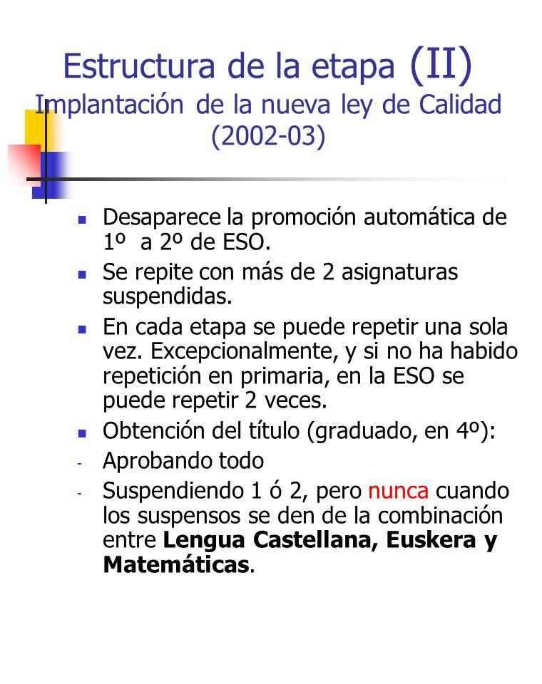 Estructura de la etapa (II) Implantación de la nueva ley de Calidad (2002-03)