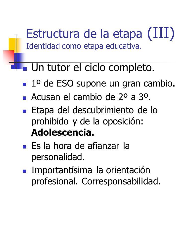 Estructura de la etapa (III) Identidad como etapa educativa.