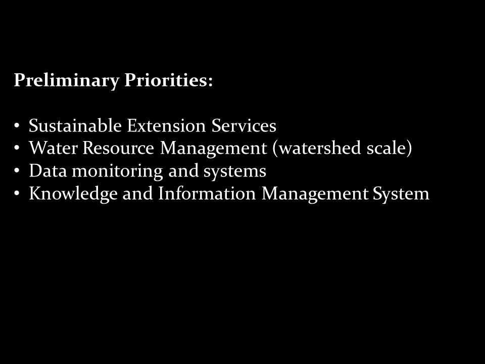 Preliminary Priorities: Sustainable Extension Services