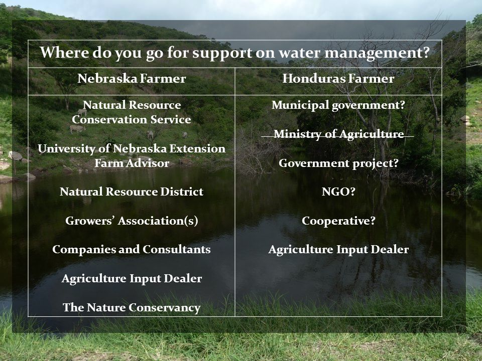 Where do you go for support on water management
