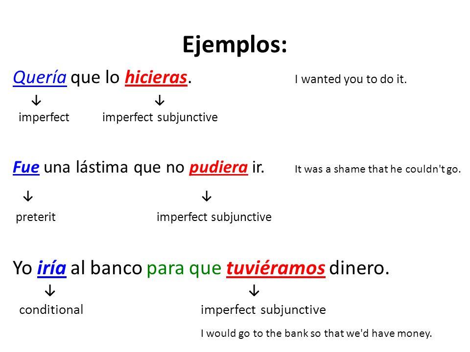 Ejemplos: ↓ ↓ Yo iría al banco para que tuviéramos dinero.