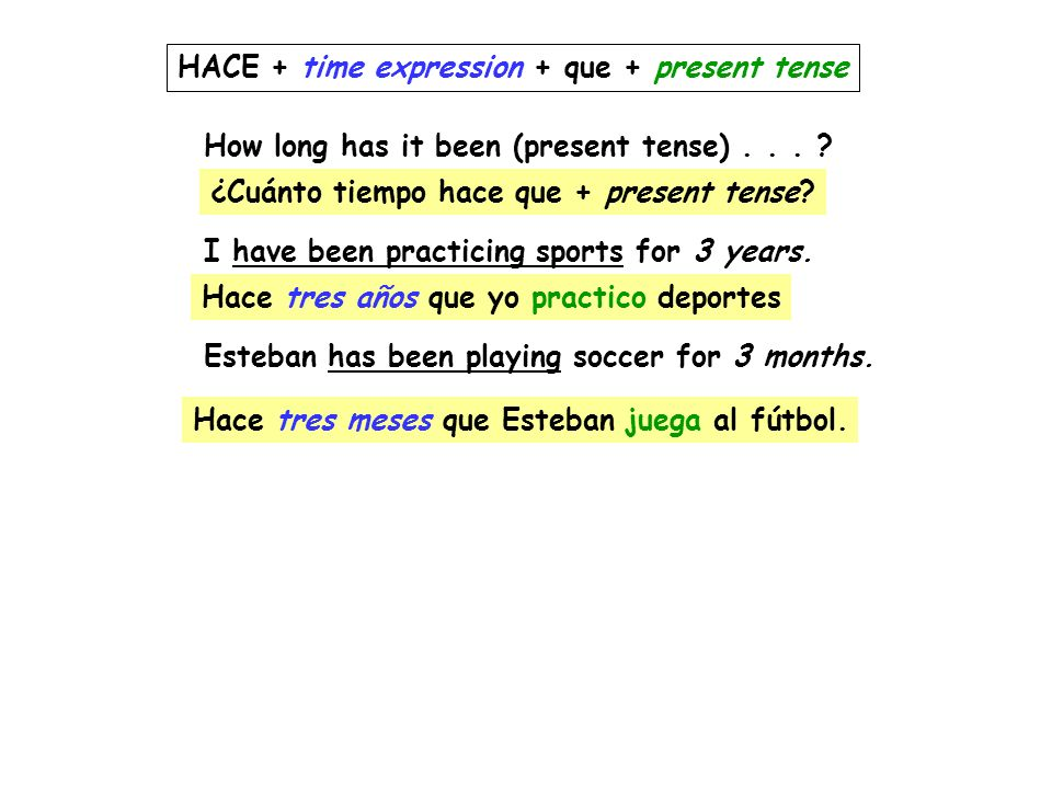 HACE + time expression + que + present tense