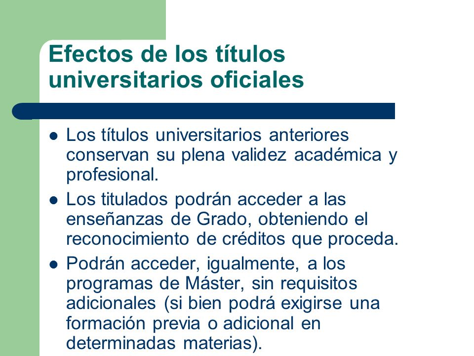 Efectos de los títulos universitarios oficiales