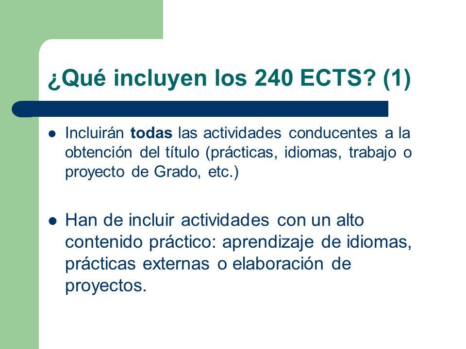 ¿Qué incluyen los 240 ECTS (1)