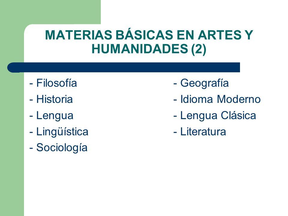 MATERIAS BÁSICAS EN ARTES Y HUMANIDADES (2)