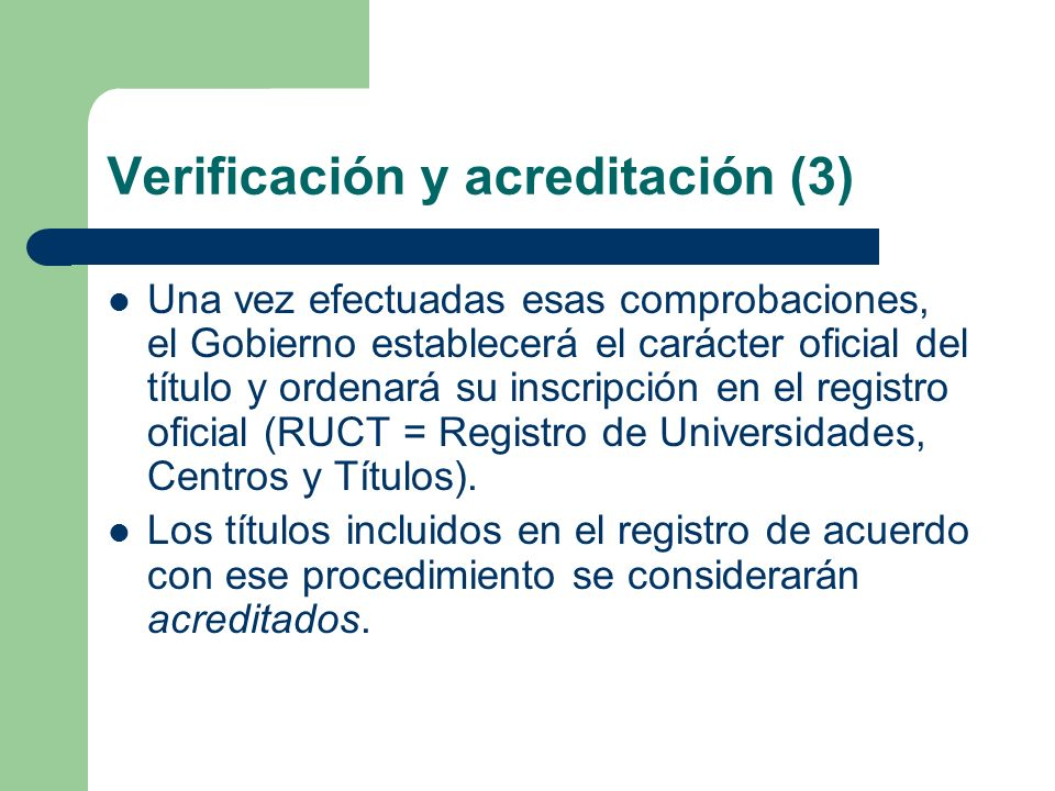 Verificación y acreditación (3)