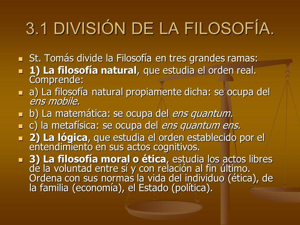 3.1 DIVISIÓN DE LA FILOSOFÍA.