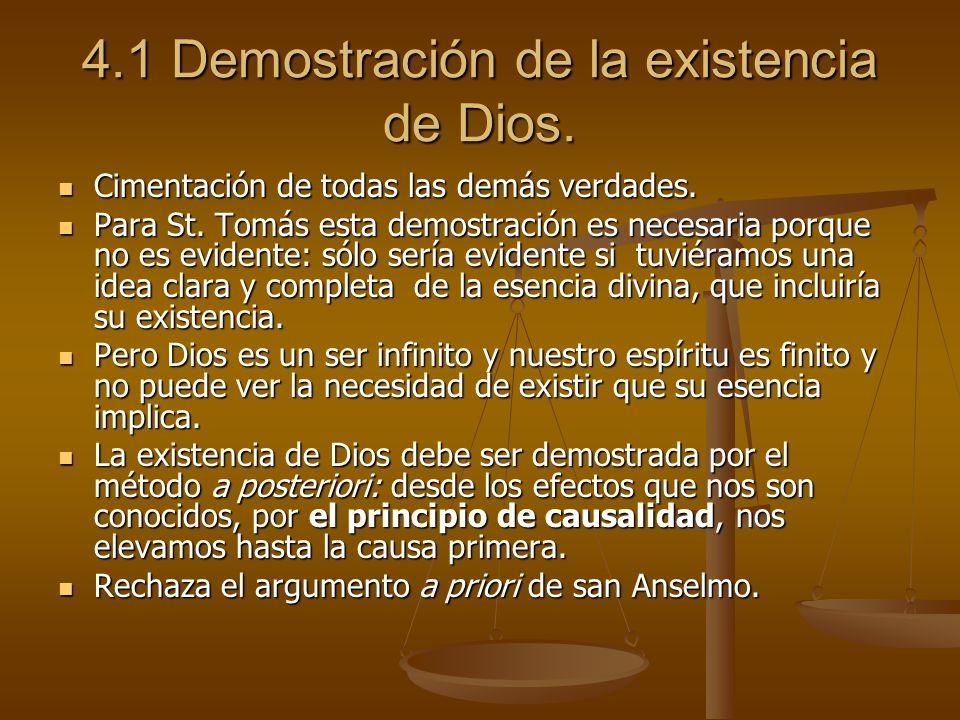 4.1 Demostración de la existencia de Dios.