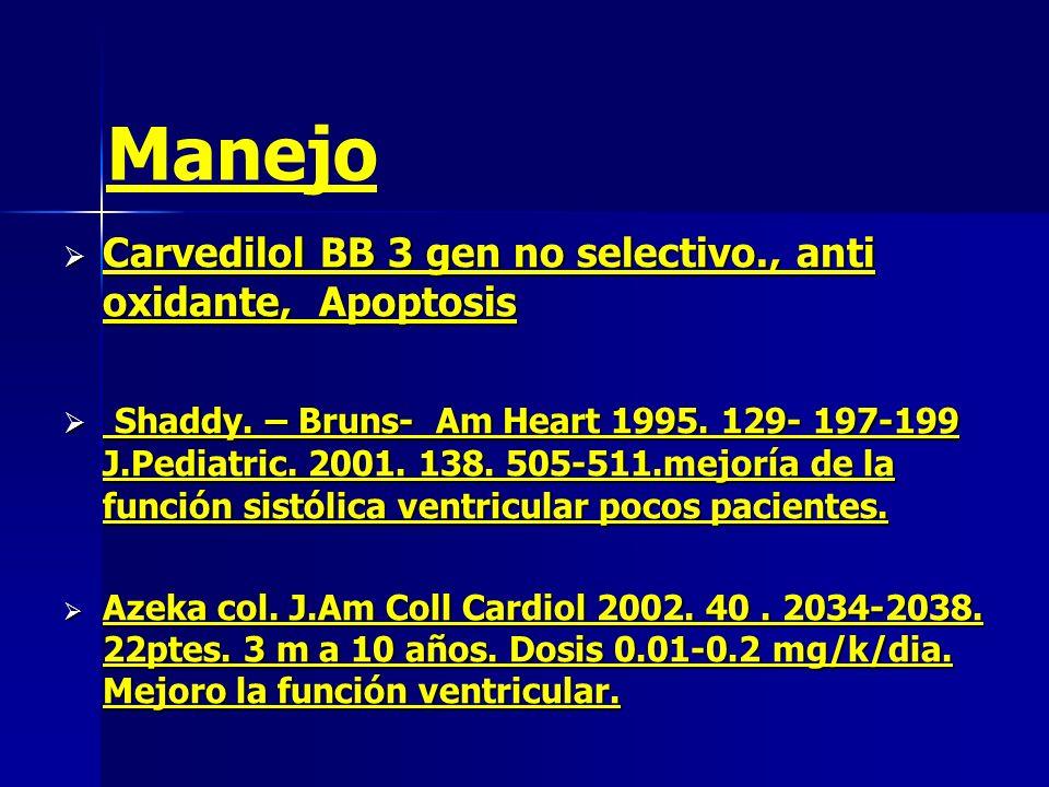 Manejo Carvedilol BB 3 gen no selectivo., anti oxidante, Apoptosis