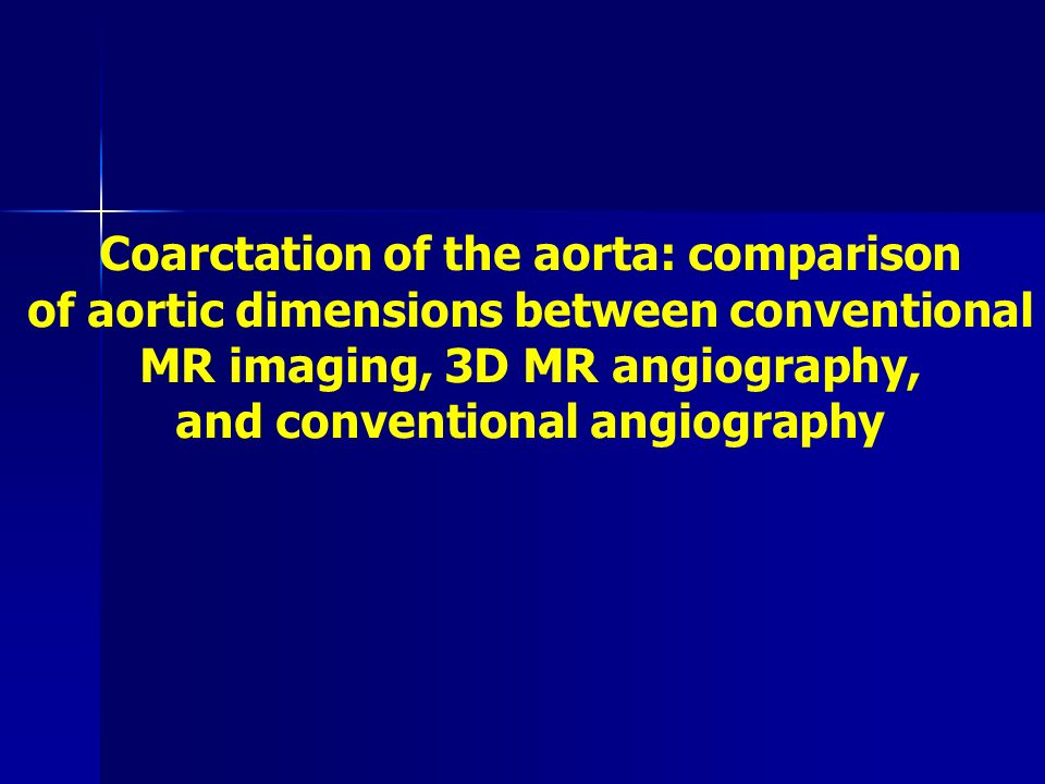 Coarctation of the aorta: comparison