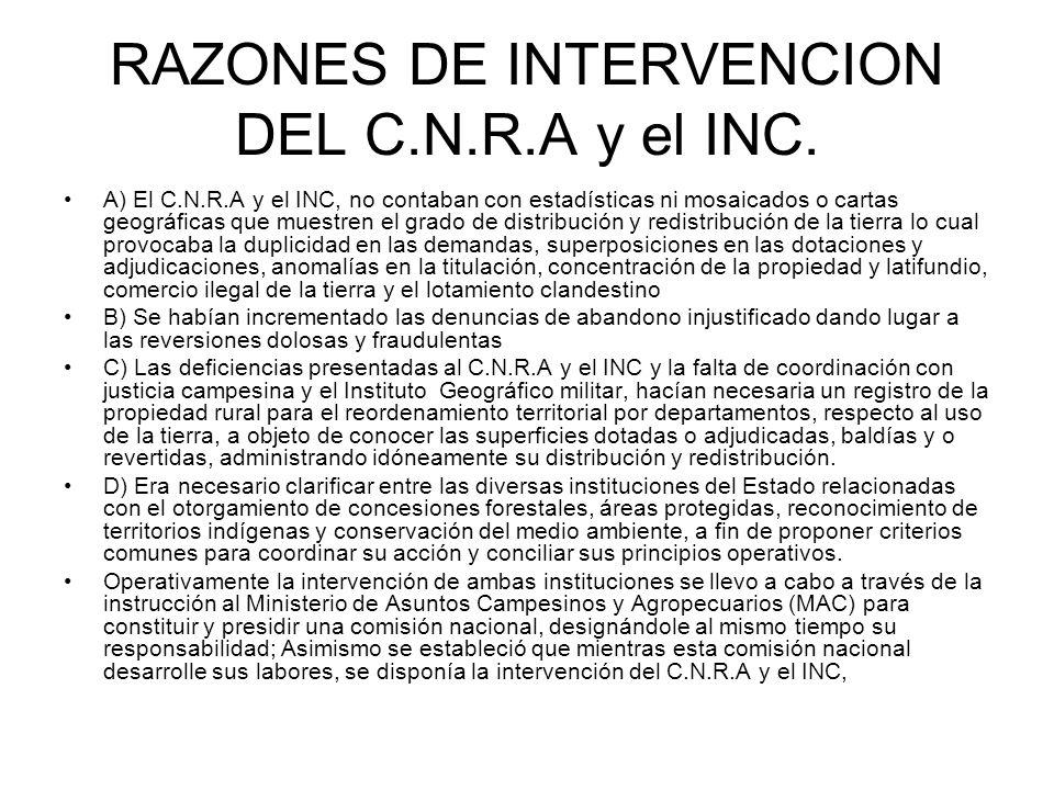 RAZONES DE INTERVENCION DEL C.N.R.A y el INC.