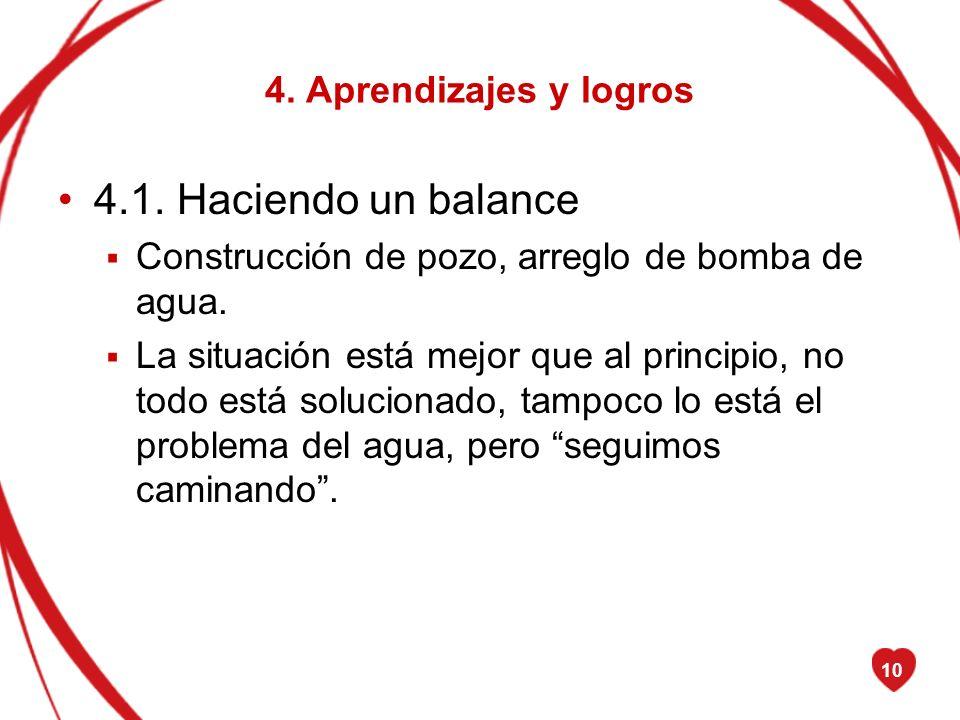 4.1. Haciendo un balance 4. Aprendizajes y logros